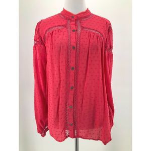 Free People Red Coral Button-Front Blouse Medium